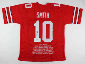 Troy Smith Signed Ohio State Buckeyes Career Stat Jersey (Beckett Holo)