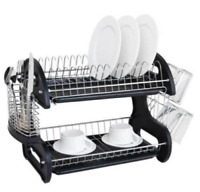 US Multi-functional Two Tier Dish Rack Holder Black Bowls Organizer For Kitchen