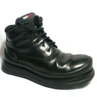 Tommy Hilfiger Vintage Black Leather Lace Up Ankle Boots Men's Sz 11M Italy Made