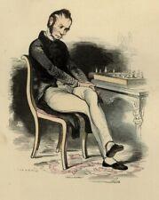 1842 LE JOUEUR D'ÉCHECS CHESS SCHACH Les Français ... estampe aquarellée époque
