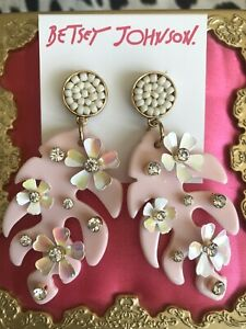Betsey Johnson Surfmaid HUGE Pink Lucite Tropical Leaf Opal Flower Earrings RARE