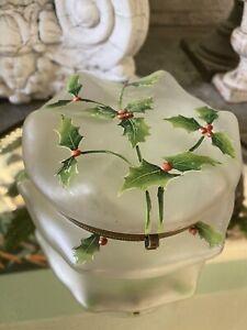 Antique Satin Art Glass Dresser Powder Jar Enameled Christmas Holly Berries Rare
