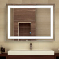 "HOMCOM 32"" LED Bathroom Wall Mirrors with Illuminated Light Makeup Vanity Mirror"