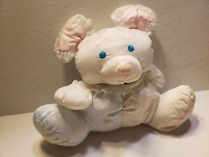 Fisher Price Puffalump White Blue Stripes Dots Mouse Plush Rattle 1988 (H1)