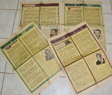 4 VINTAGE WEEKLY SONG HITS/AMERICA'S GREATEST COMIC WEEKLY NEWSPAPER PAGES 1941