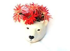 More details for polar bear wall vase by quail pottery wall hanging pot flower display gift boxed