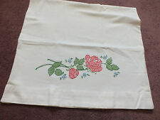 Collectible Pillowcase Hand Embroidered Cross Stitch Floral 30 x 19 Nice