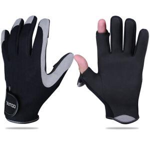 Goture Winter Gloves 2 Cut Finger Anti-Slip Sports Fishing Warm Gloves Black