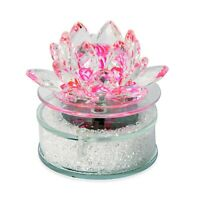 Home Decorations Pink Crystal Rotating Lotus Solar Base Collectible Figurines