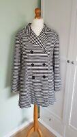 EAST Navy Blue & Cream Striped Double Breasted Jacket Coat Size UK 14