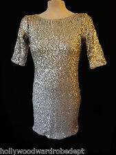 Abercrombie & Fitch gold sequin flat matte metalic rylie stretch bodycon coctail