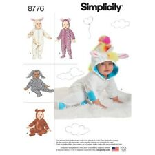 Simplicity Sewing Pattern 8776 Baby Costume Babygrows Unicorn Teddy Bunny