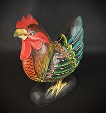 Statuette d'une  poule sculptée sur bois fait main (Artiste Mâconnais) Bourgogne