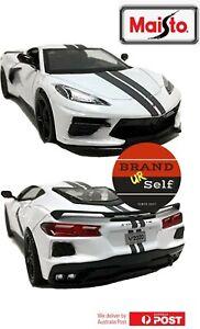 Maisto 2020 Chevrolet Corvette Stingray Coupe White 1:18 Diecast Car