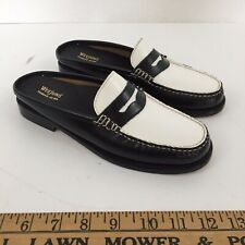 G.H. BASS Wynn Weejuns MULES slides loafers patent colorblock black/white size 6