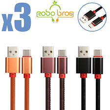 3X 3FT Aluminium leather USB-C Type-C Fast Charging Data SYNC Charger Cable Cord