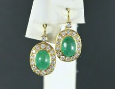 $4,500 18K Yellow Gold GIA Oval Green Emerald Round Diamond Leverback Earrings