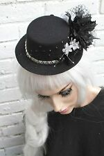 MINI TOP HAT BLACK STUD HALLOWEEN GOTHIC RACES GOTH ASCOT GRUNGE BRIDAL RACES
