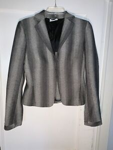 Akris Punto Black gray Ombre Stripe wool tweed Jacket 6.     A795