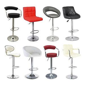 Faux Leather PU Bar Stool Breakfast Bar Chair Kitchen Stools Swivel Barstool