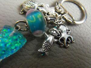 ponyo MERMAID fishtail keyring charm lampwork glass bead turtle octopus fish