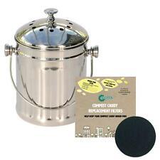 Mini Polished Steel 3 Litre Compost Caddy/Food Bin & 2 x Filters