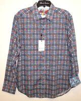 Robert Graham Mens Blue Floral Classic Fit Button-Front Shirt NWT $198 Size L