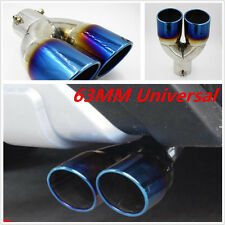 1PCS Chrome Blue Colorful Stainless Steel Car Rear Tail Dual Exhaust Pipe 63MM