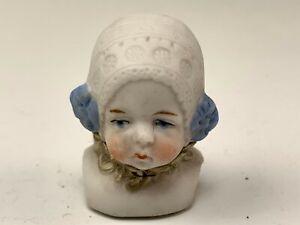 """Little 1-3/4"""" Tall German Bisque Doll Head Girl Wearing Bonnet"""