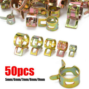50× Fastener 5/6/7/8/9mm Spring Clip Fuel Water Line Hose Pipe Air Tube Clamps