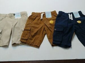 Cat And Jack Lot Of 3 Cargo Shorts Boys 4 Tan, Brown, Blue MSRP $43