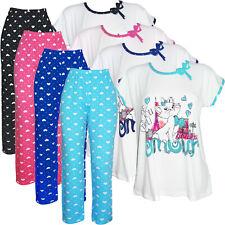 Damen Pyjama Set Hose +T-Shirt Shirt Schlafanzug Nachtwäsche 36-46