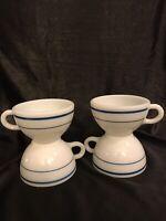 Pyrex Tableware Milk Glass Coffee Tea Cups 701 Blue Striped Set Of 4