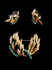 & Earring Set Trombone Pin Back Sterling Silver Turquoise High End Vintage Pin
