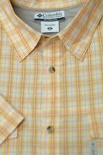 Columbia Men's Sun Gold & White Check Cotton Trail Casual Shirt 2XL XXL