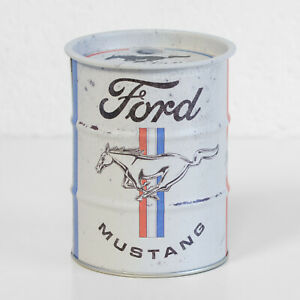 Small Retro Money Tin Ford Mustang Pony Barrel Coin Saving Change Piggy Bank Box