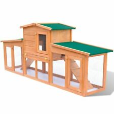 vidaXl Large Rabbit Hutch with 2 Runs Wood Animal House Pet Cage Chicken Coop
