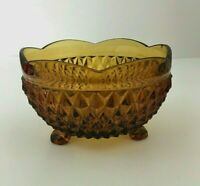Vintage Amber Gold Footed Glass Candy Dish
