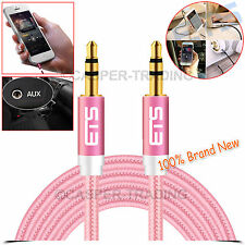 ®ETS 3M 3.5mm Jack Plug Aux Cable Audio Lead For to Headphone MP3 iPod Car Pink