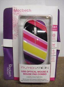 Optical Mouse And Mouse Pad Set Combo USB Plug & Play PC/Mac 800 dpi Designer