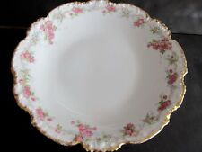 Limoges 9 1/2 inch Bowl with Roses and Heavy Gold Trim 1 5/8 inches high