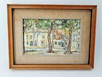 Peinture ancienne, place de village signée et datée