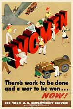 """""""Women - There's Work to be Done"""" 1944 Vintage Style WW2 War Poster - 16x24"""