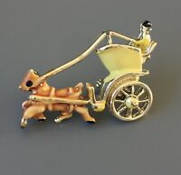 Adorable horse  carriage Brooch in enamel on gold tone metal