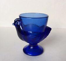 Vintage Egg Cup Cobalt Blue Glass Chicken France Numbered