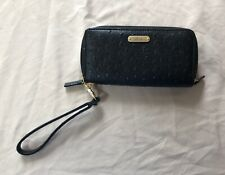 Buxton Double Zippered Black Ostrich Brights Wristlet/Wallet 333