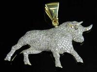 1Ct Round Cut D/VVS1 Diamond Taurus Bull Unisex Pendant 14K Yellow Gold Over