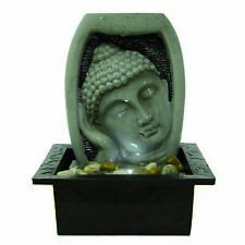 Parma Buddha Head Oriental Tabletop Indoor Water Feature Ideal for Feng Shui