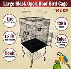 Large 148 CM Black Open Roof Pet Bird Parrot Canary Cage Stainless Castors BNE