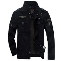 New Men's Cotton Slim Zip Military Jacket Air Force jackets Coat XS S M L XL XXL